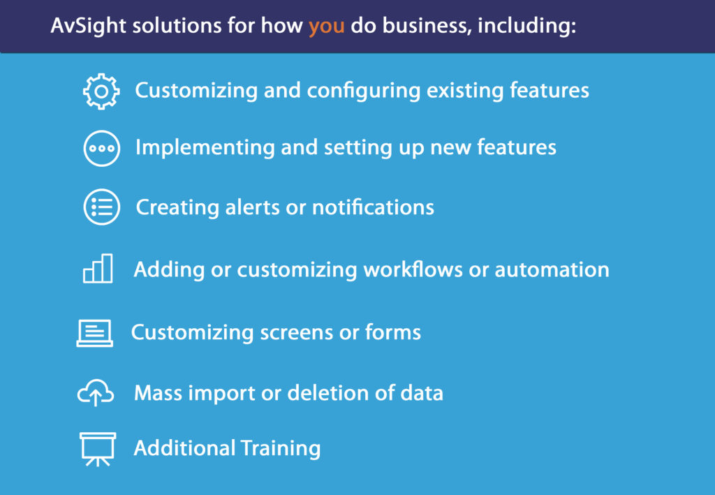 Customizing existing features via modification of available configurations. Implementing new features requiring additional configuration, setup, and training. Adding or customizing workflows or automation. Create alerts and notifications. Customizing screens or forms. Mass imports or deletion of data. Additional training.